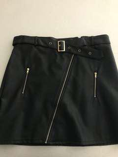 Alison black faux leather skirt. Size 14