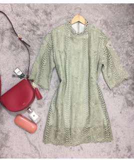 HQ Lace Dress Pastel Green