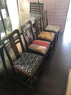 Vintage heavy oak chairs