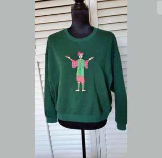 Elf Sack L/XL green women crop jumper pullover sweater top long sleeve human