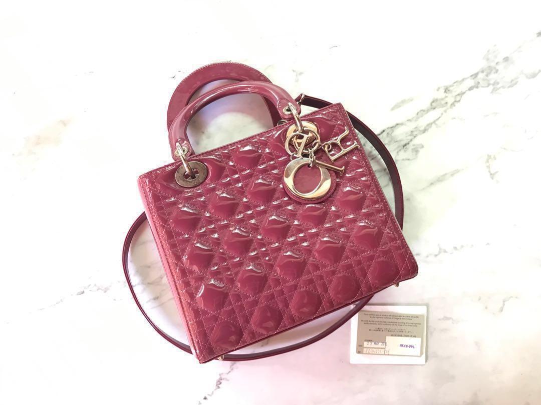 4ff2a6954552 100% Auth Medium Lady Dior Bag Dark Pink Patent Leather