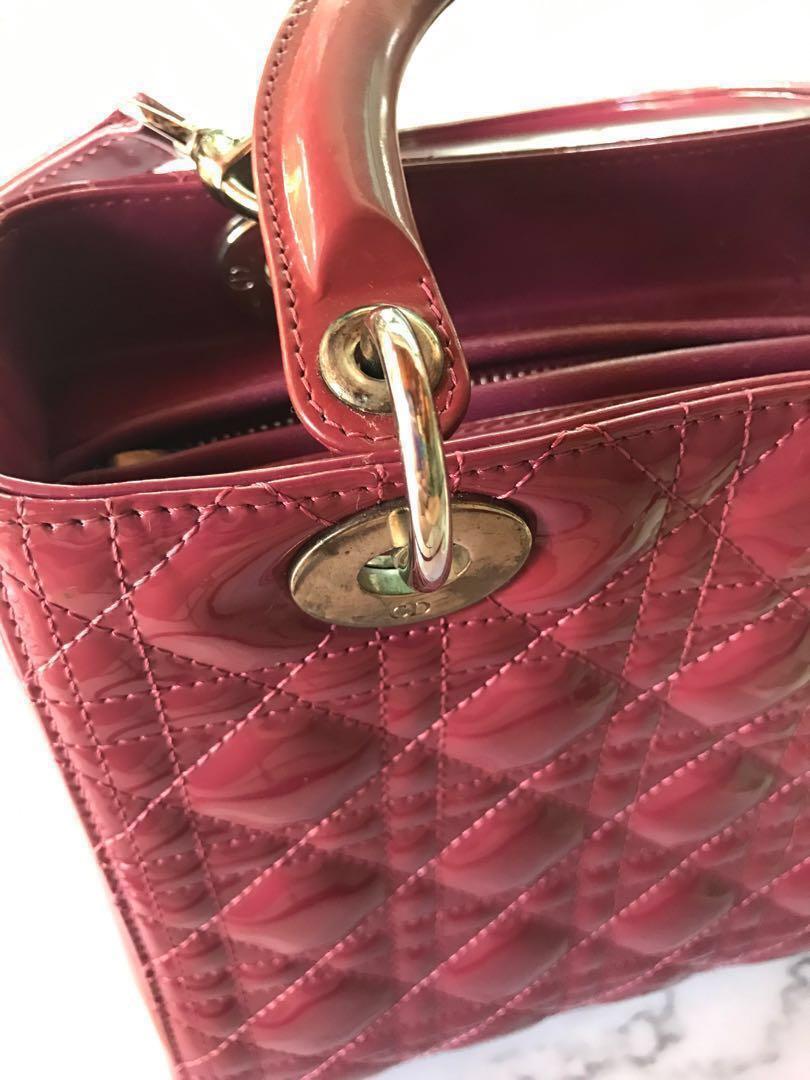 7bae422ec4d5 100% Auth Medium Lady Dior Bag Dark Pink Patent Leather