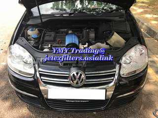 #jetexfilters_vw. #jetexfiltersasialink. Jetta MK5 1.4tsi single turbo on site replacement of jetex high flow performance drop in air filter with 1.14 kpa flow rate washable reusable filter..