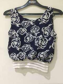 Croptop flower blue