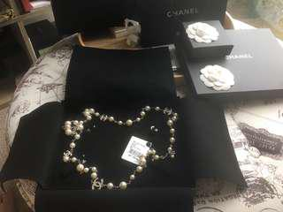 Authentic Chanel Pearl Necklace with 5 CC crystals both sides