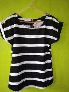 Baju stripe bahan wafle import