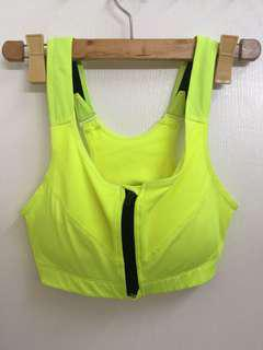 Neon Zipped Sports Bra