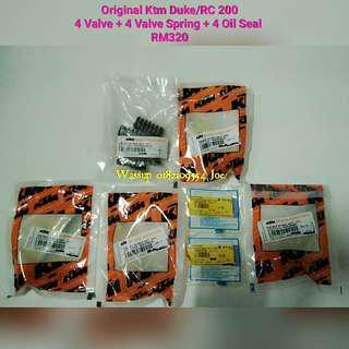 Original Ktm Duke Rc 200 4 Valve + 4 Valve Spring + 4 Valve Oil Seal RM320