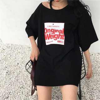 Korean black oversized dress free size