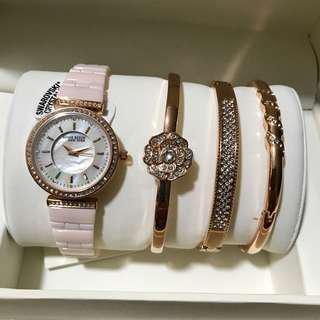 Anne Klein Women's Ceramic Crystal Watch Set