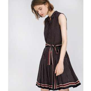 Saturday Club Belted Dress In Abstract Print