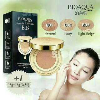 BC Bioaqua BB cushion Light Beige - bedak padat bioqua plus refill - powder compact