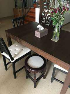 IKEA Dining Table (expandable to sit 10) with 4 Chairs