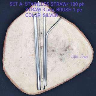 SET A STAINLESS STRAW