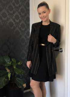 Jane Lamerton black and gold business suit blazer jacket - size 10