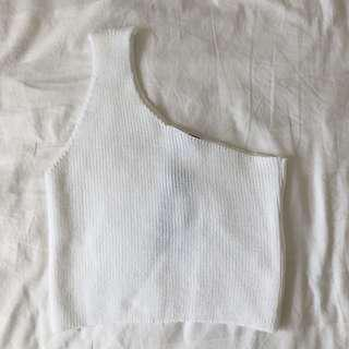 One shoulder knit top white m/l