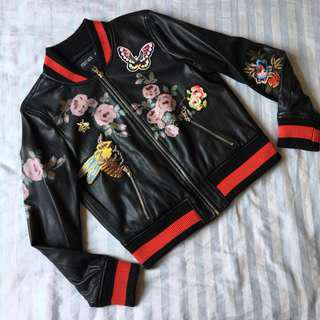 Embroidered PU Leather Jacket