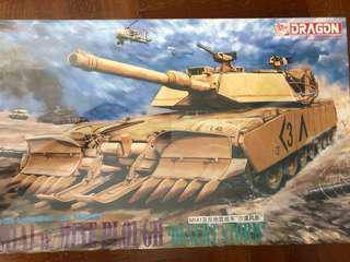 "🚚 1/35 scale M1A1 w/mine plough ""desert storm"" tank model kit"