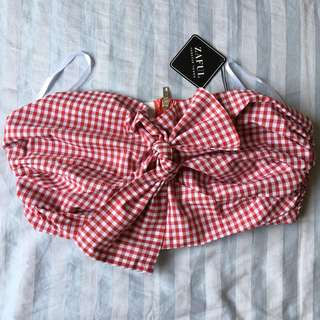 ON-HAND BRAND-NEW Gingham Print Bow Bandeau Top