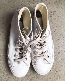 Converse high top all white leather sneakers