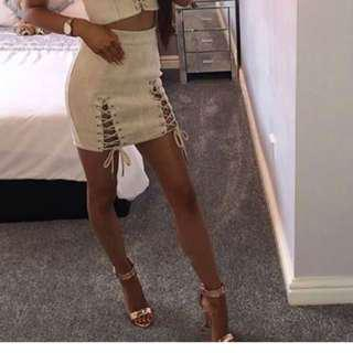 Nude Lace Up Mini Skirt