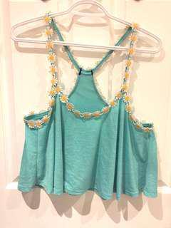 Daisy Aqua Blue Daisy Trim Shirt