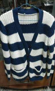 🚚 現貨二手 寬條紋 針織衫 外套 鈕扣 毛衣