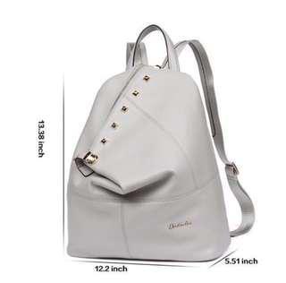 Grey ladies genuine leather backpack