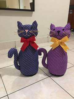 Handmade fabric cat door stoppers