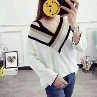 🚚 薄款 冰絲 針織衫女 V領 韓版寬鬆 純色長袖 鏤空罩衫 防晒衫