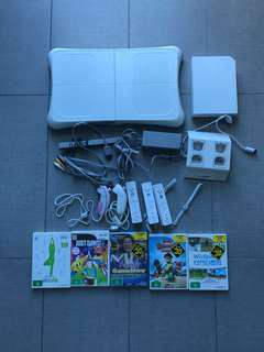 Wii console with game and accessories