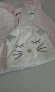 Carter's sleepsuit cat bonnet and 3 pc George bandana bib