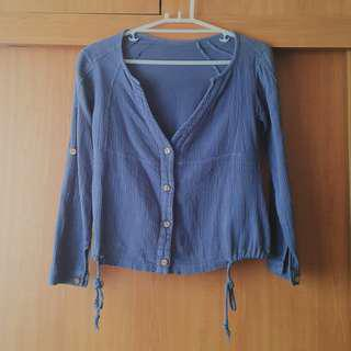 Blue Long Sleeve Buttoned Top