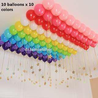 Rainbow theme latex balloon set