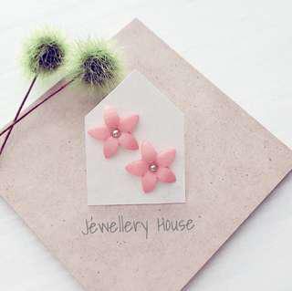 Peach Flower Earrings Handmade Large