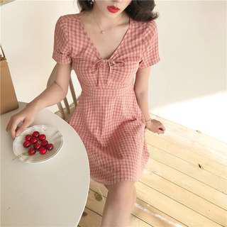 Pink checkered drawstring A-line dress