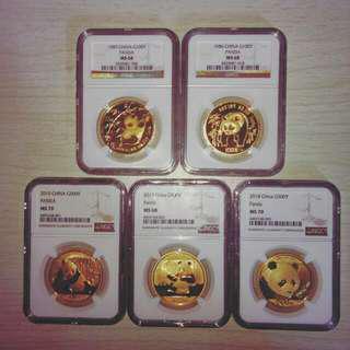 5pcs Of Graded 1oz Gold Panda
