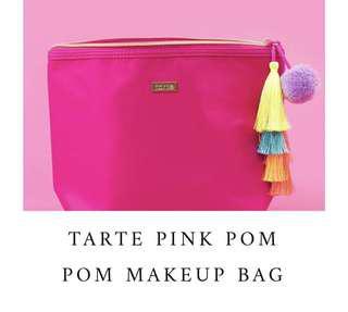 100% BRAND NEW ORI TARTE PINK MAKEUP BAG WITH TASSLES AND POM POM