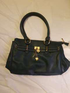 Dark Teal leather handbag/ purse with gold accents EUC