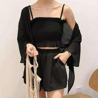 [PO] Ulzzang Ribbed Top with Chiffon Shorts Two Piece Set
