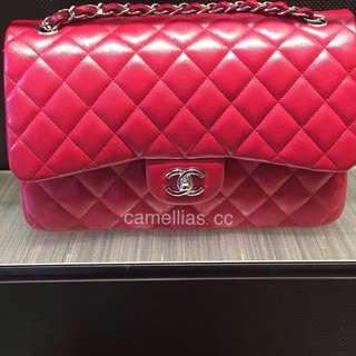 Chanel 18B Raspberry Jumbo in Caviar SHW