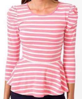 📍SALE📍F21 Stripes Puffed Sleeve Peplum Top