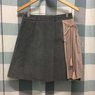 (NEW) Grey Skirt With Pink Pleated Side