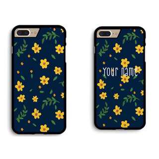 🚚 Navy Floral Customizable Phone Cover