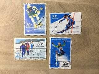 澳洲已銷郵票 1984年澳洲滑雪(4枚組)