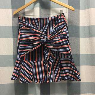 (NEW) Tie Front Striped Skirt