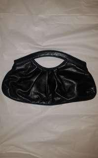 Faux black leather clutch EUC