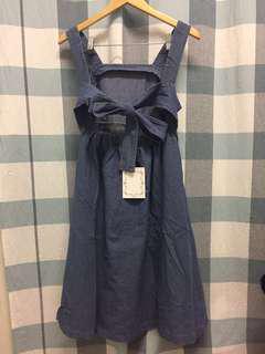 (NEW) Denim Ribbon Bare Back Dress
