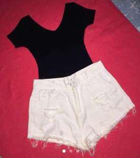 📍SALE📍Knitted Top & Denim Shorts Bundle