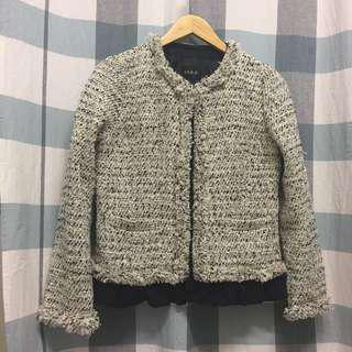 (NEW) Japanese Tweed Cropped Jacket With Detachable Frills Bottom